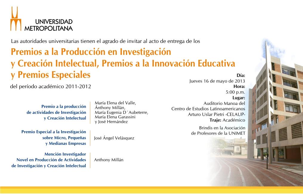 Tarjeta Premio Merito Académico mayo 2013