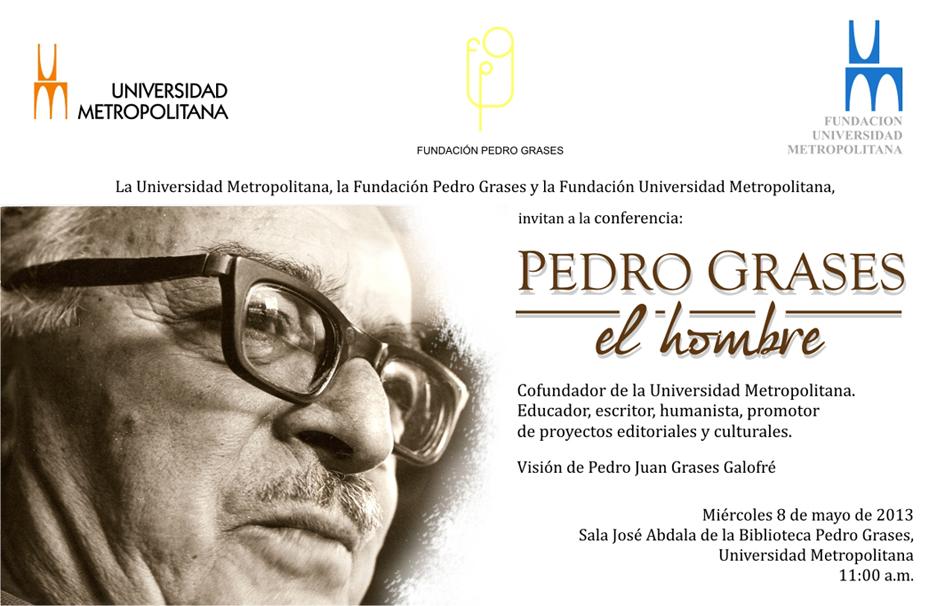 Tarjeta conferencia Pedro Grases 8 05 2013