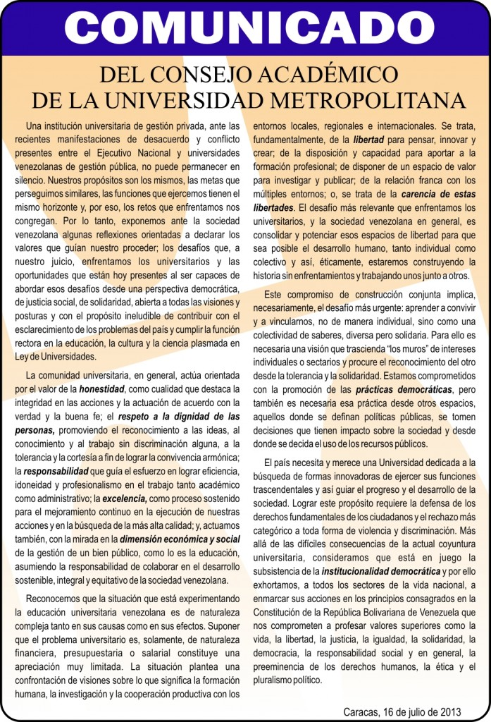 Comunicado Consejo Academico jul 2013