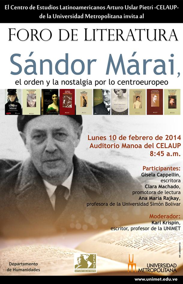 Foro de Literatura CELAUP Sandor Marai 10 02 2014