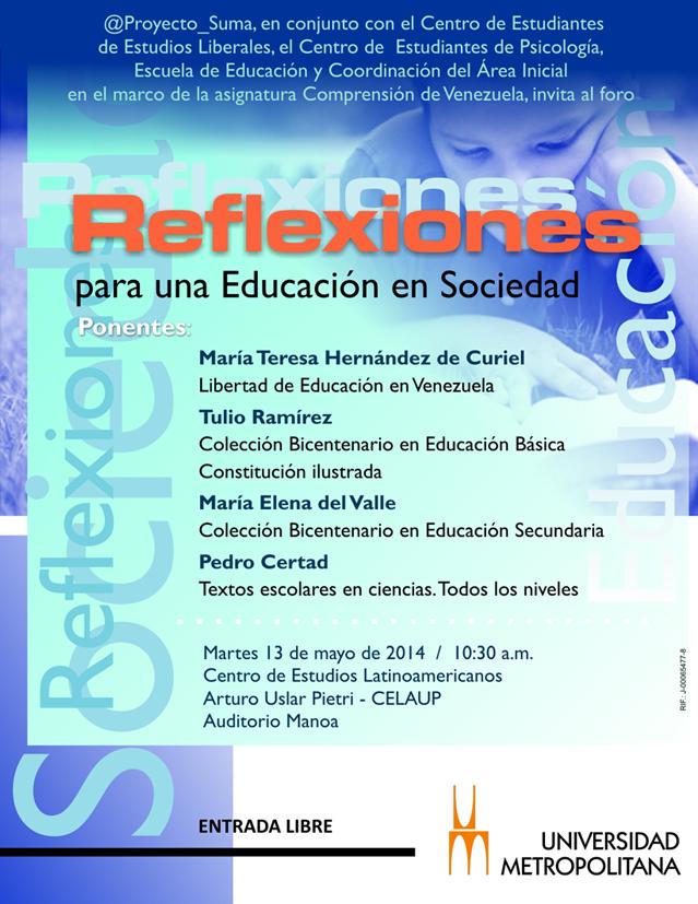 Reflexiones Educ sociedad  mayo 2014 afiche