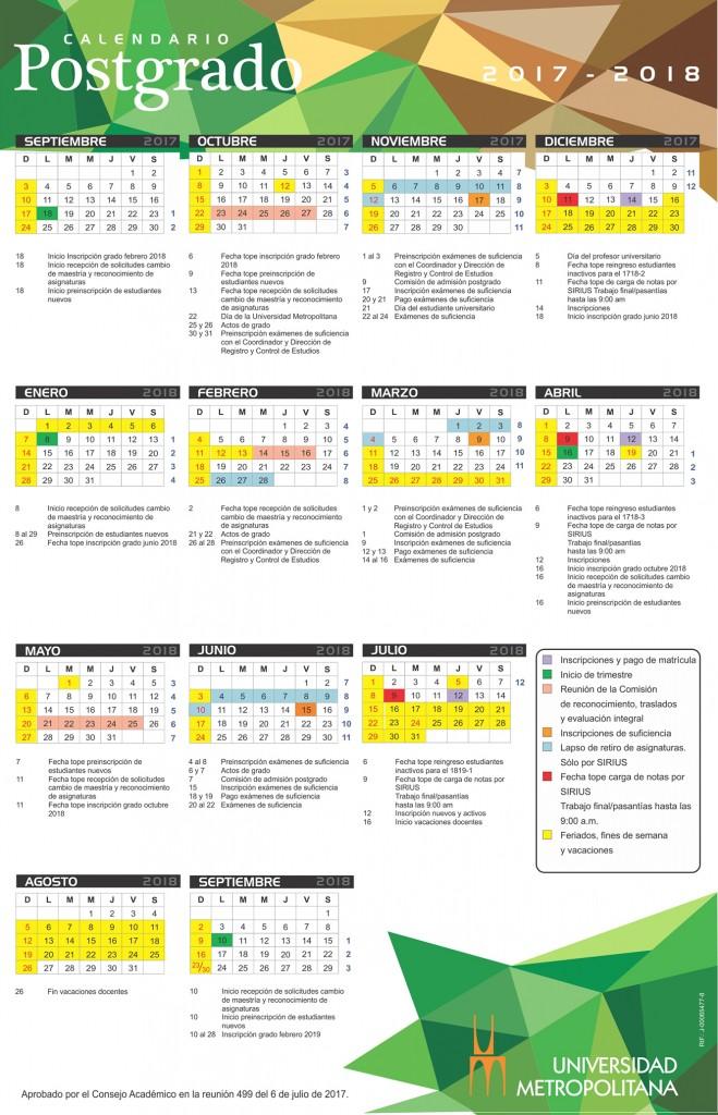 Calendario Postgrado 2017-18