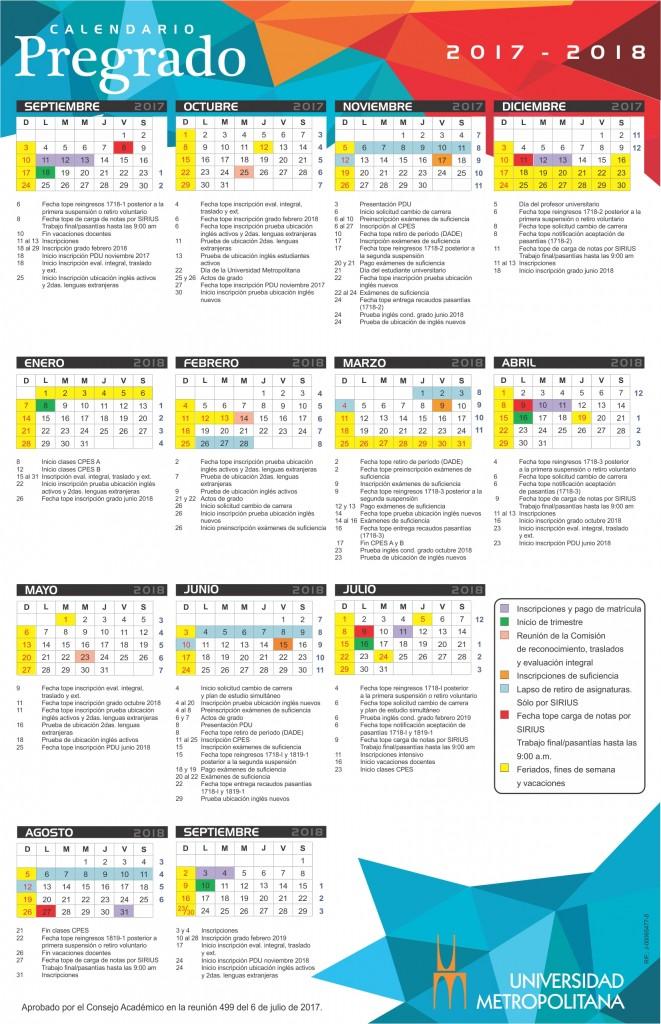 Calendario Pregrado 2017-18 grande mayo 18