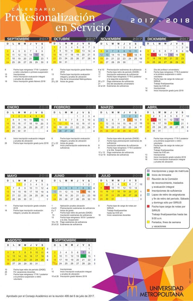Calendario Profesionalización en Servicio 2017-18