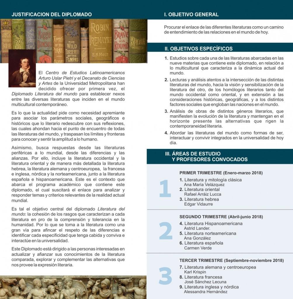 Diptico diplomado Literatura del mundo  info