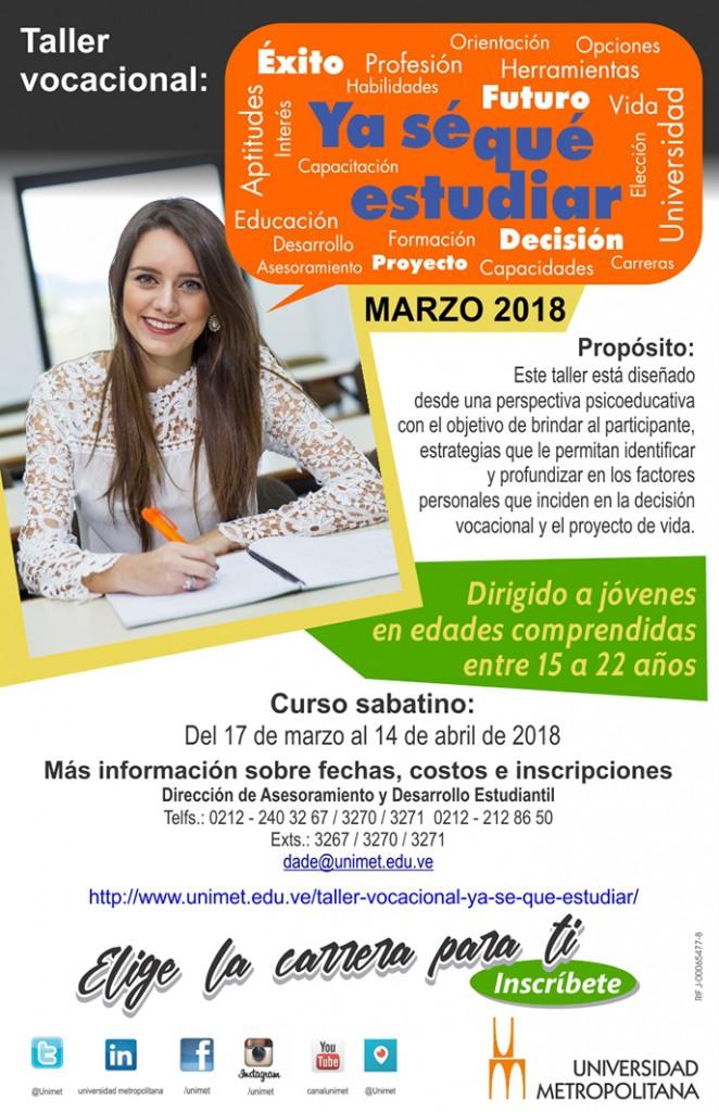 Volante taller Vocacional Marzo 2018