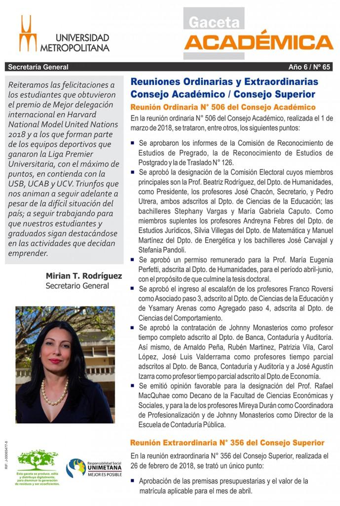 Gaceta academica 65