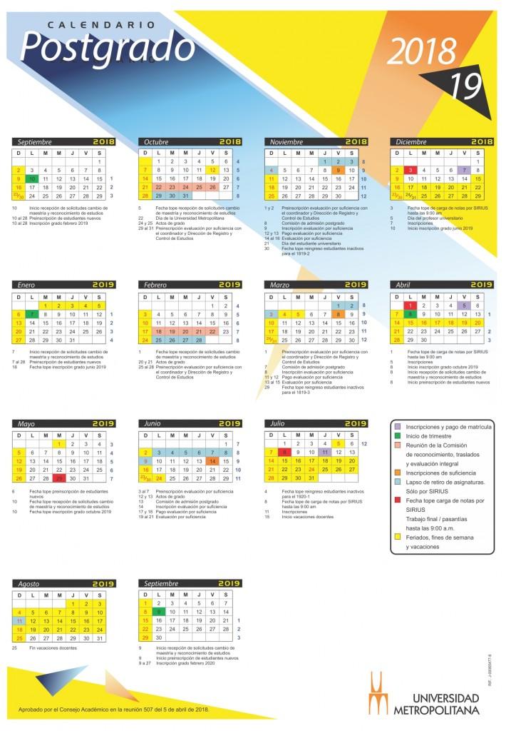 Calendario Postgrado 2018-19 (1) julio 10